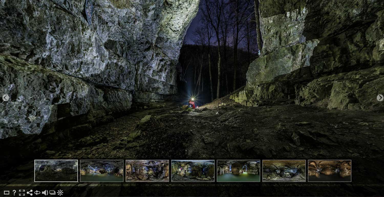 Panoramabilder mit 360 Grad Ansicht und Panoramafotografie für Tourismus: Virtueller Rundgang Höhle Falkenstein