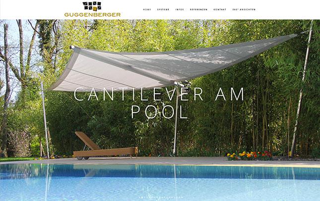 Webdesign und Grafik für Guggenberger Sonnensegel Schweiz