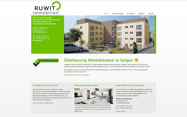 Webdesign und Grafik für Ruwit Immobilien Schweiz