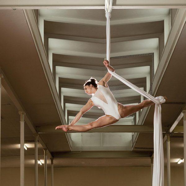 Professionelle Sportfotografie: Akrobatik im Vertikaltuch - Sportfotograf Andrea Scavini (goldgelb)