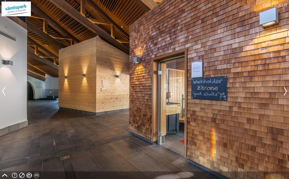 Fotografie: 360° Rundgang durch die Saunawelt vom Säntispark